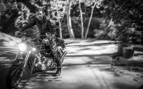 Wallpaper road, forest, trees, background, jeans, blur, jacket, motorcycle, actor, black and white, biker, bike, photoshoot, ...
