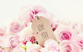 Wallpaper the inscription, Valentines Day, Valentine's Day, roses, pink, roses, holiday, Love You