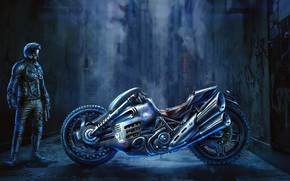 Picture man, motorcycle, lane, Sci-Fi Bike