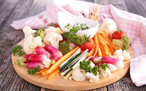 Picture greens, vegetables, tomatoes, carrots, sauce, cabbage, radishes, cabbage, tomato, Vegetables, Radishes