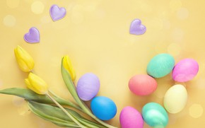 Picture flowers, spring, Easter, tulips, wood, flowers, tulips, spring, Easter, eggs, decoration, Happy, the painted eggs