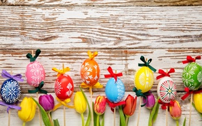 Picture colorful, wood, Easter, Easter, tulips, tulips, happy, spring, the painted eggs, holiday, eggs, flowers