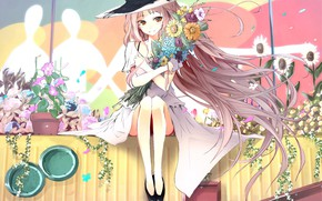Picture flowers, hat, girl