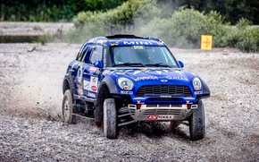 Picture Auto, Mini, Blue, Sport, Machine, Speed, Race, Gravel, Car, Rally, SUV, Rally, The front, X-Raid …