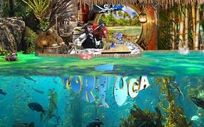 Picture sea, fish, algae, children, palm trees, coast, toys, ship, island, lamp, frog, bamboo, flag, show, …