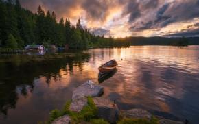 Wallpaper Ringerike, Norway, Norway, Lakeside, boat, lake