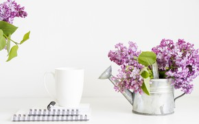 Picture bouquet, mug, Notepad, lake, lilac