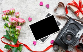 Picture flowers, photo, roses, bouquet, camera, frame, gifts, hearts, love, vintage, photo, wood, pink, camera, romantic, …