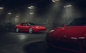 Wallpaper Ferrari, Red, Front, Supercar, Garage, Superamerica