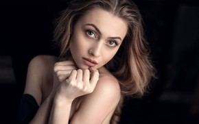 Picture look, girl, pose, background, portrait, makeup, hairstyle, brown hair, beautiful, bokeh