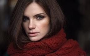 Picture look, macro, face, sweetheart, model, portrait, makeup, scarf, brunette, freckles, light, beautiful, the beauty, eyes, …
