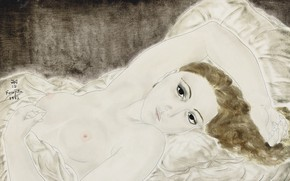 Picture chest, woman, brown hair, 1923, Tsuguharu, Fujita, Nude in bed