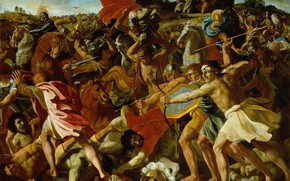 Picture picture, history, battle, Nicolas Poussin, mythology, Nicolas Poussin, Victory of Joshua over the Amalekites