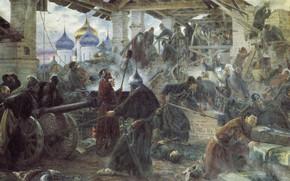 Picture oil, Church, gun, canvas, Sergey MILORADOVICH, The defense of the Trinity-Sergius Lavra, 1894