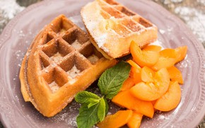 Picture mint, waffles, apricots