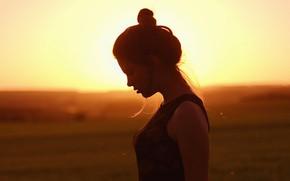 Picture field, the sky, girl, the sun, landscape, silhouette, profile, bokeh, Lera, Vladislav Tkachenko