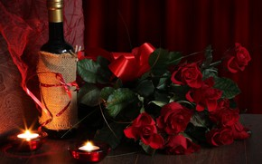 Picture wine, roses, bouquet, candles, Valentine's day