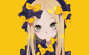 Picture anime, art, girl, yellow background, Fate Grand Order, The destiny of a great campaign, Abigail …