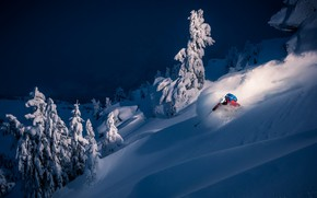 Picture winter, snow, the descent, sport, mountain, skier