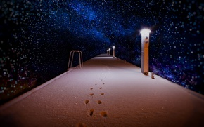 Picture winter, snow, night, trail