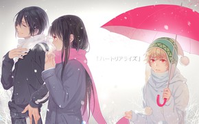 Wallpaper Noragami, umbrella, girl, Yukine, Yato, A Homeless God