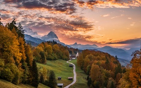 Wallpaper road, autumn, trees, mountains, nature, house, Germany, Bayern