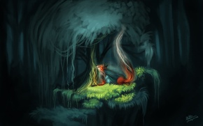Wallpaper forest, Fox, the spirit of the forest, nature, butterfly, fantasy, by TehChan