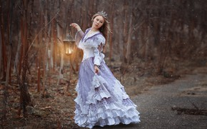 Picture forest, girl, trees, pose, mood, the situation, crown, dress, lantern, photographer Svetlana Nicotine, Natalia Emelyanova