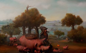 Picture pig, dwarf, pigs, Surrealism, Lazarev I. A
