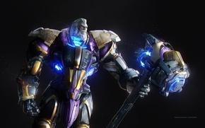 Picture game, warhammer, weapon, man, strong, Overwatch, Reinhardt
