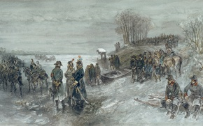 Wallpaper watercolor, French Troops Crossed The Frozen River, Charles Rochussen, figure, genre
