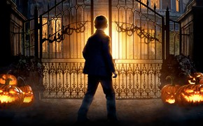 Picture night, lights, boy, gate, fantasy, pumpkin, mansion, poster, horror, The House with a Clock in …