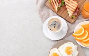 Wallpaper Breakfast, toast, coffee, orange, scrambled eggs