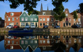Picture water, trees, branches, reflection, river, boat, home, channel, Netherlands, cars, Monnickendam
