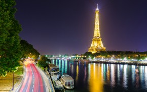 Wallpaper river, Eiffel tower, Paris, France, Hay, lights