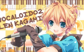 Picture look, music, boy, Vocaloid, Vocaloid, Len