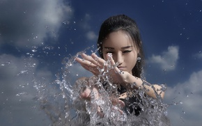 Picture the sky, water, girl, squirt, Asian