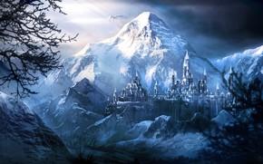 Picture snow, mountains, fortress, Frozen Castle
