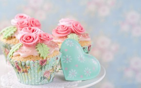 Picture roses, decoration, heart, cream, cakes, valentine's day, cupcakes, Elena Schweitzer