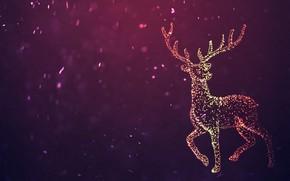 Wallpaper Winter, Minimalism, Snow, Deer, Snowflakes, Background