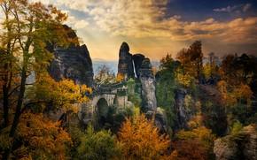 Wallpaper Bataiskiy bridge, Saxony, Germany, trees, rocks, people, autumn