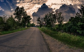 Wallpaper clouds, road, village