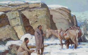 Picture winter, snow, horse, Oscar Edmund Berninghaus, WinterInTaos