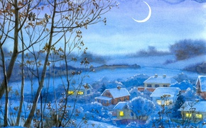 Picture Winter, Figure, Trees, Village, Painting, Crescent
