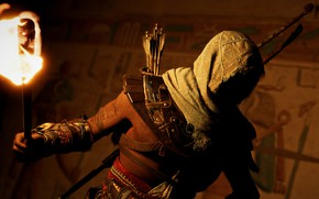 Picture hero, torch, twilight, Ubisoft Montreal, Action-adventure, Assassin's Creed Origins
