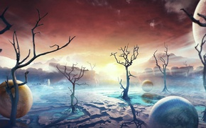 Picture the sky, trees, mountains, balls, planet, astronaut