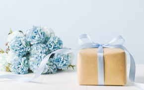 Picture flowers, gift, bouquet, tape, box, blue, flowers, gift, ribbon