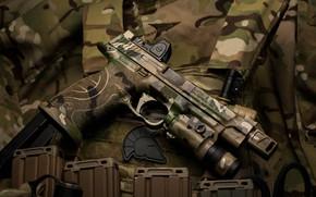 Picture gun, background, flashlight, camouflage