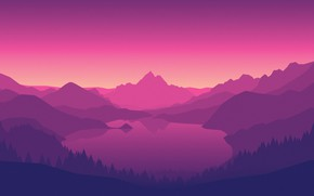 Picture Mountains, The game, Lake, Forest, View, Hills, Landscape, Purple, Campo Santo, Firewatch, Fire watch