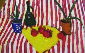 Picture 2008, still life, garnet, decanter, al, The petyaev, striped table
